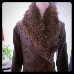 Jack by BB Dakota Faux Leather Fur Moto Jacket